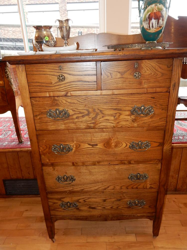 Beautiful antique American oak high boy dresser with backsplash, professionally refinished, special shipping required