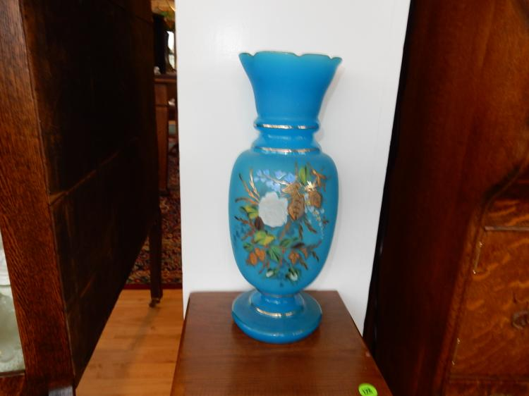 Large antique hand painted Bristol vase, floral scene, cond VG