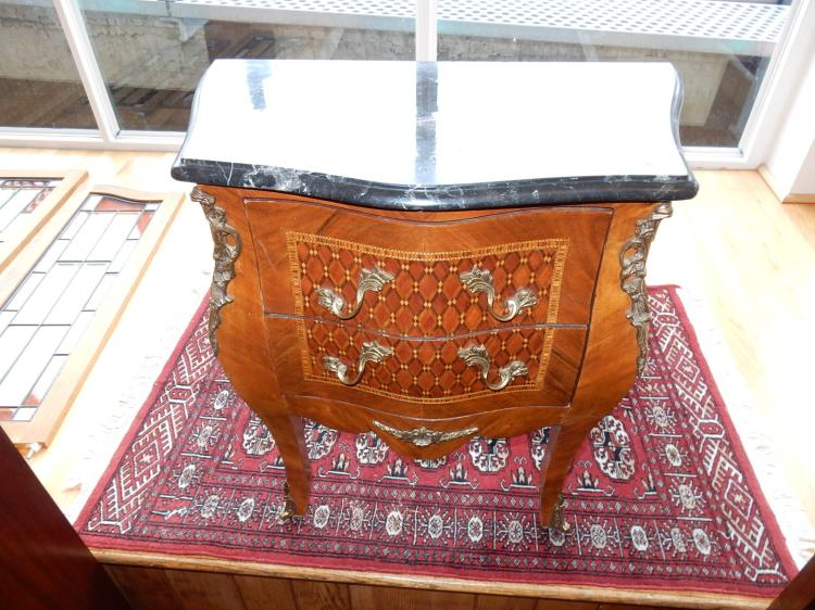 Vintage French style inlay commode, with marble top (crazing) bronze hardware, special shipping required