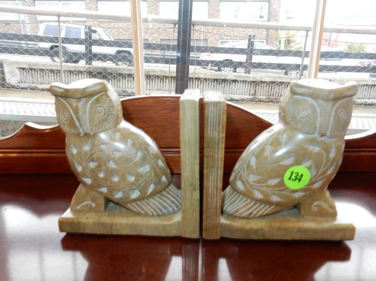 2 piece unique stone carved owl bookends
