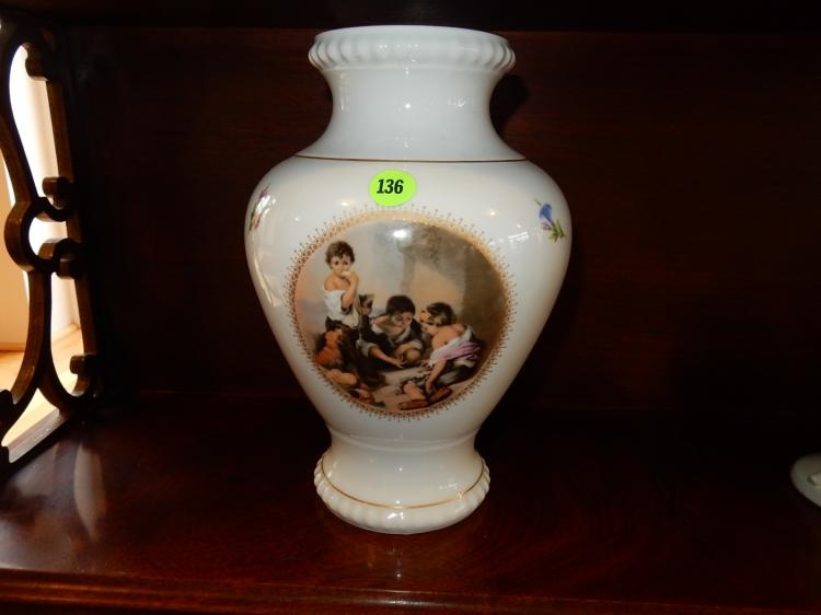 Vintage porcelain vase with kids playing scene