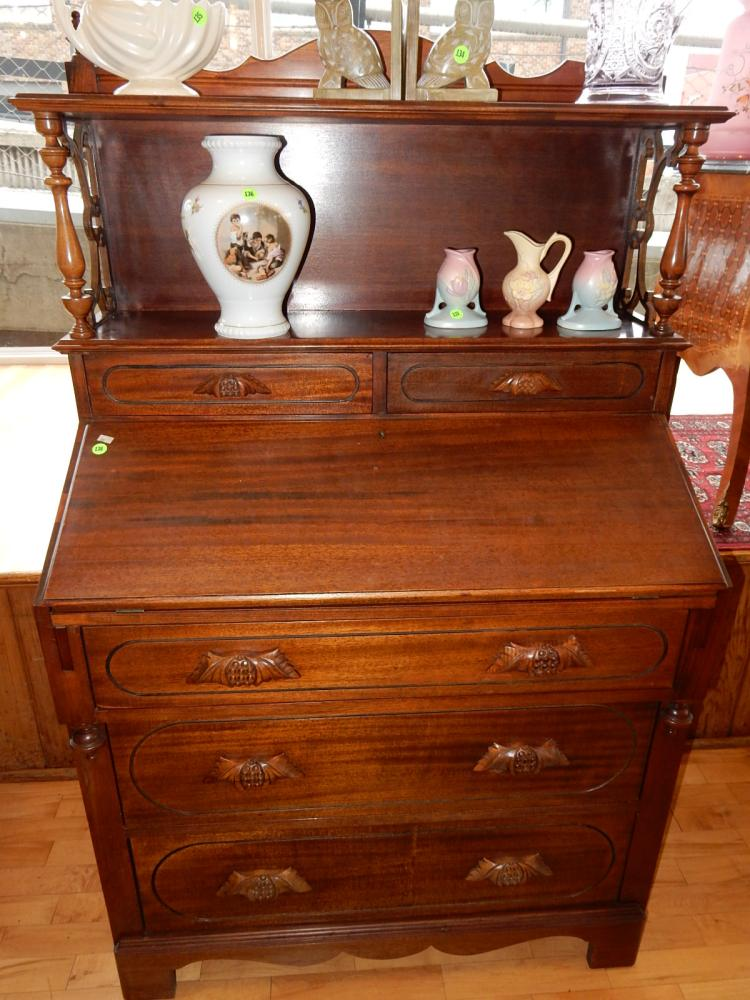 Lovely vintage mahogany fall front desk with curio top, special shipping required