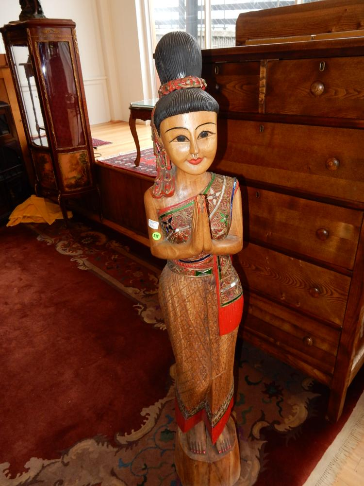 Unique hand carved wood and colored applied mirror Bali girl figure, solid wood, cond VG special shipping required