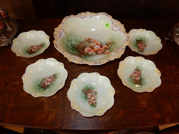 Antique porcelain berry bowl set with floral design