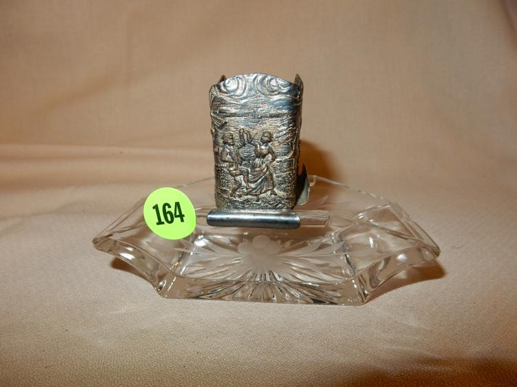 Unique vintage etched crystal and fancy silver plated smoking dish / cigarette holder, cond VG