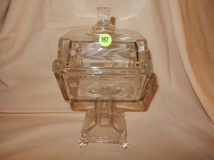 Antique etched lidded compote, cond VG