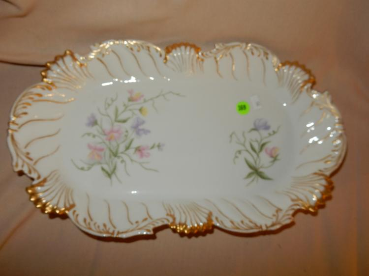 Nice antique porcelain painted floral platter, marked T&V Limoges, cond VG