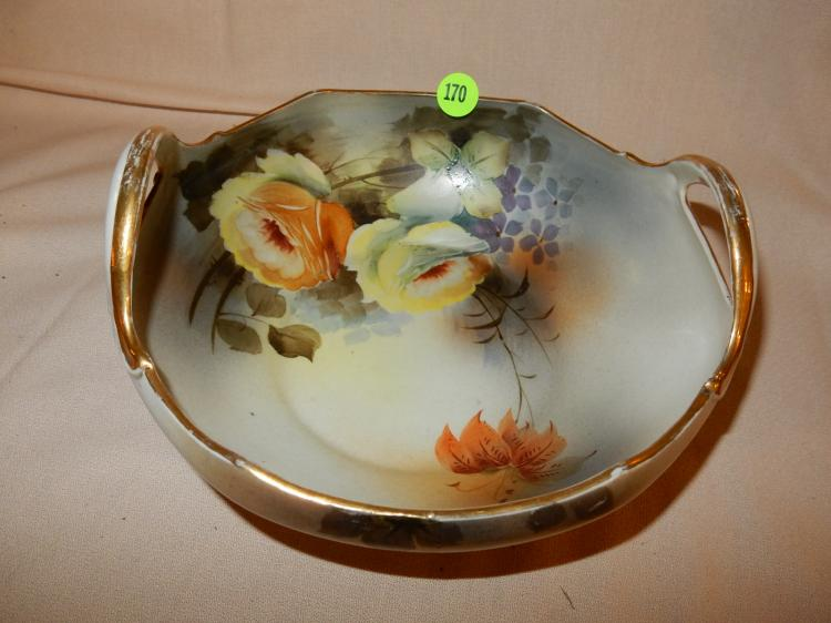 Nice vintage vintage hand painted Noritake bowl with floral design, double handled, cond VG with minor gold paint loss on handles from use