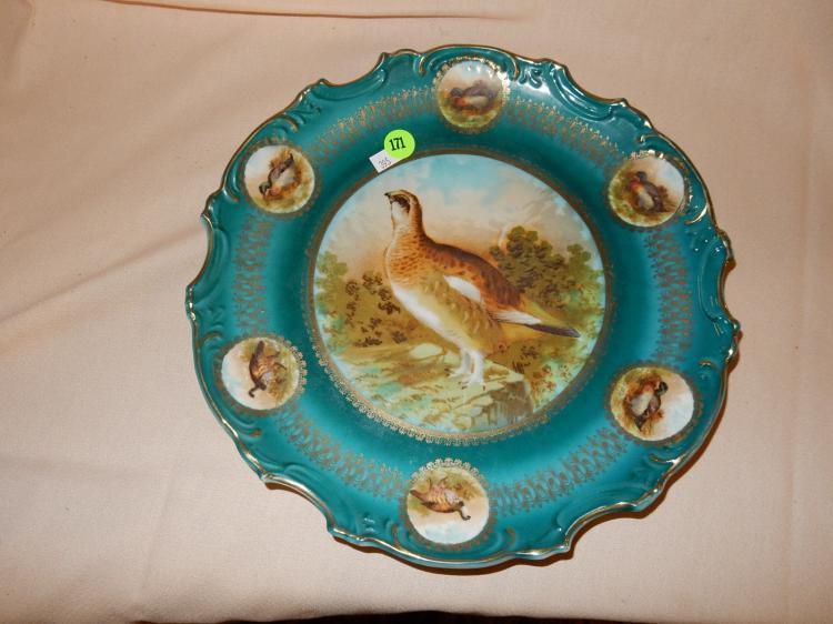 Vintage porcelain quail bird plate, marked Leuchtenburg, cond VG