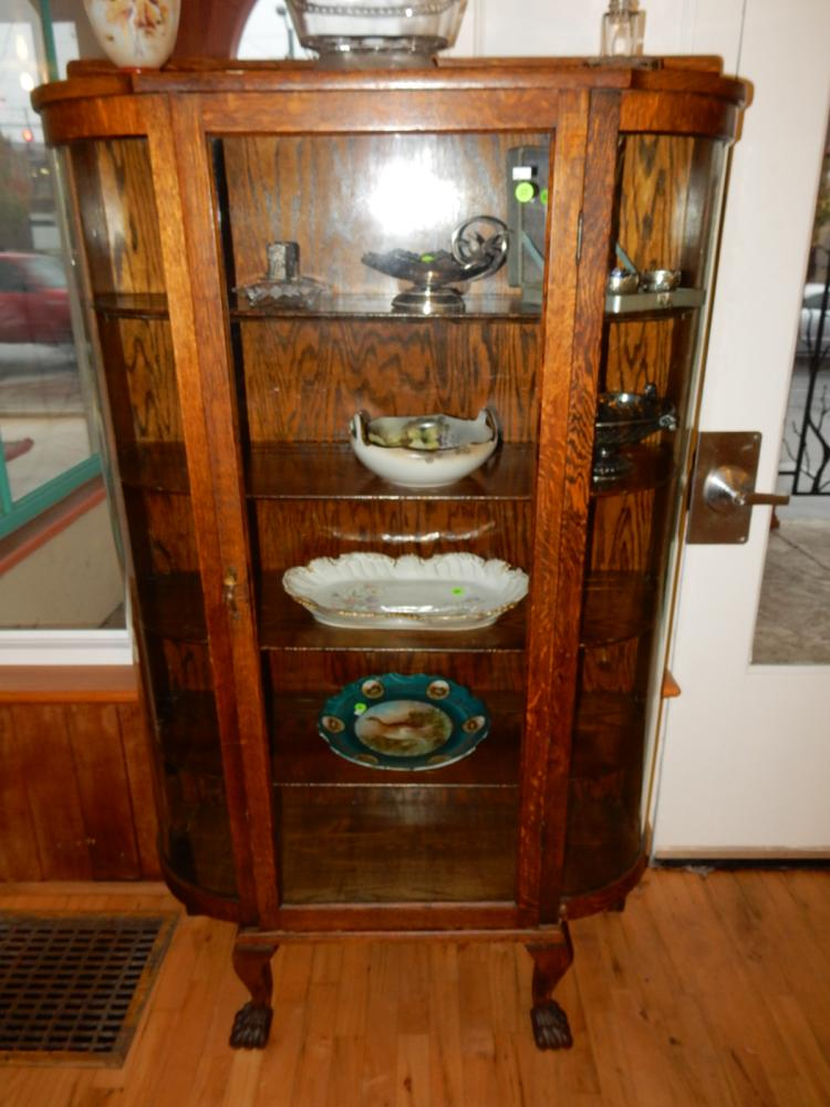 Beuatiful American oak curved glass china cabinet, with claw foot, special shipping req