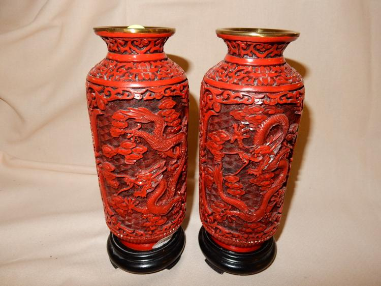 9) 2 Piece Asian carved cinnabar vases with coiled dragon scene, on base / stand, cond VG