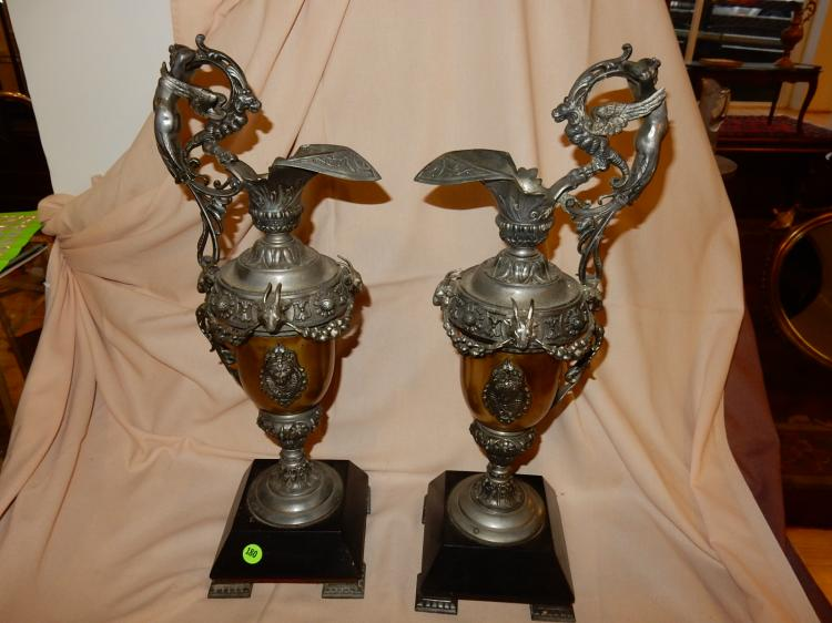 2 Piece antique French? cast metal and brass fancy figural ewer mantle displays, with full body putti handles, ram's head, on base, cond G-VG handles shows minor repair,