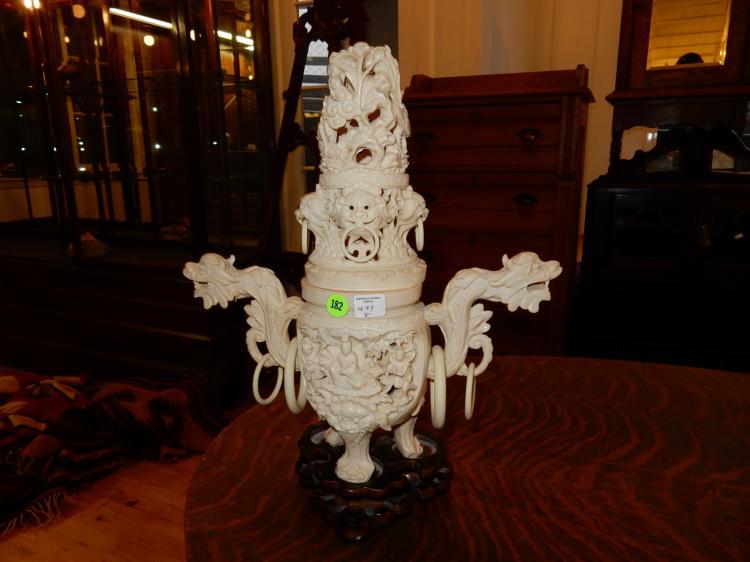 8) Nice vintage Asian fine detailed figural lidded urn display, tri foot, several different scenes, on base, resin made, cond VG