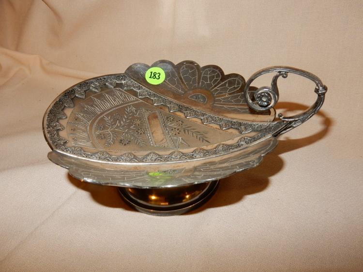 Antique silver plated bon bon / candy dish, etched floral design, cond VG