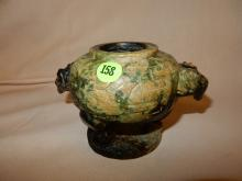 Unique Asian carved Jade? figural vessel, double headed rams, with carved design, cond VG