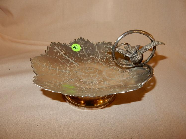 Nice antique silver plated Victorian bon bon dish with bird design, etched leaf and flower center, cond VG