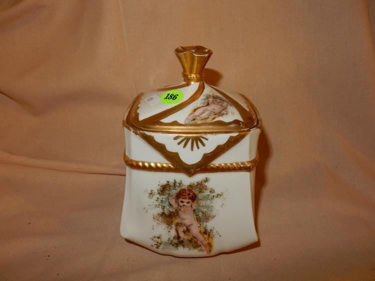 Antique lidded porcelain angel / putti jar, stamped Depose, cond VG