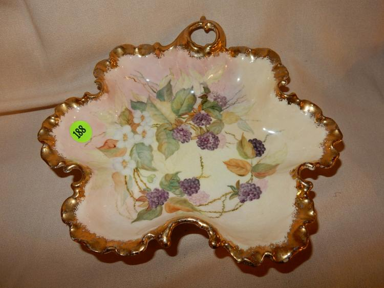 Antique hand painted dish, berry scene, cond VG