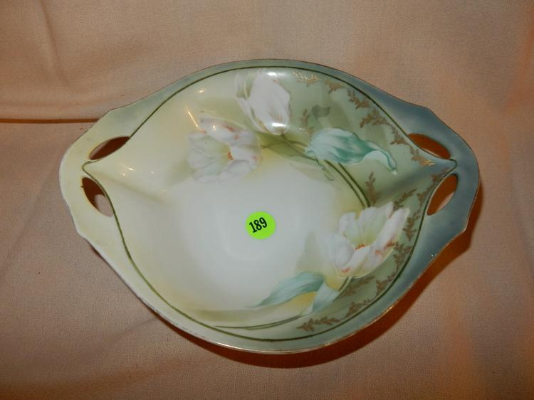 Lovely RS Germany hand painted floral bowl, cond VG