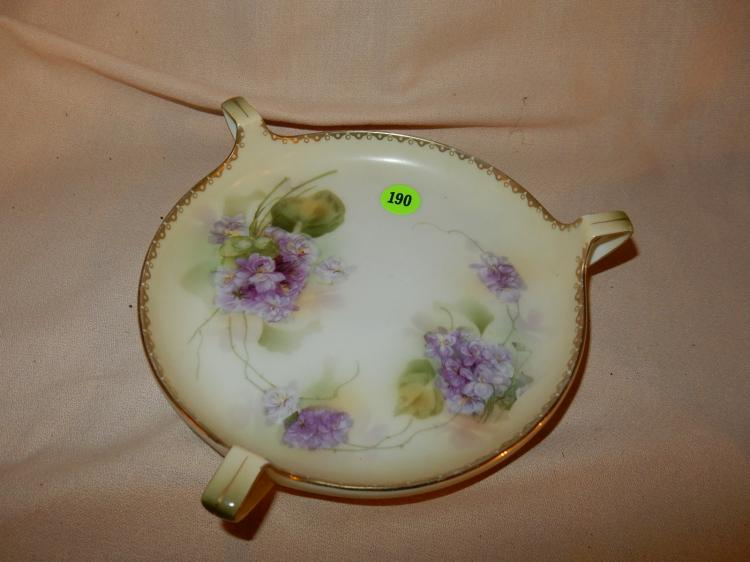 Vintage tri handled porcelain dish, floral painted, stamped RS Germany, cond VG