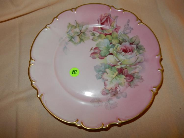 Vintage painted porcelain rose plate, cond VG