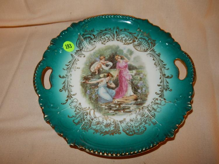 Vintage porcelain plate, with ladies on edge on pond, cond VG