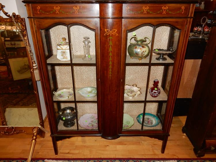 Wonderful antique inlay and painted French style double door curio cabinet, special shipping req