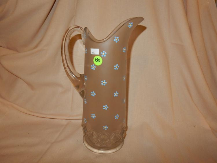 Antique tall satin glass painted floral pitcher, cond VG