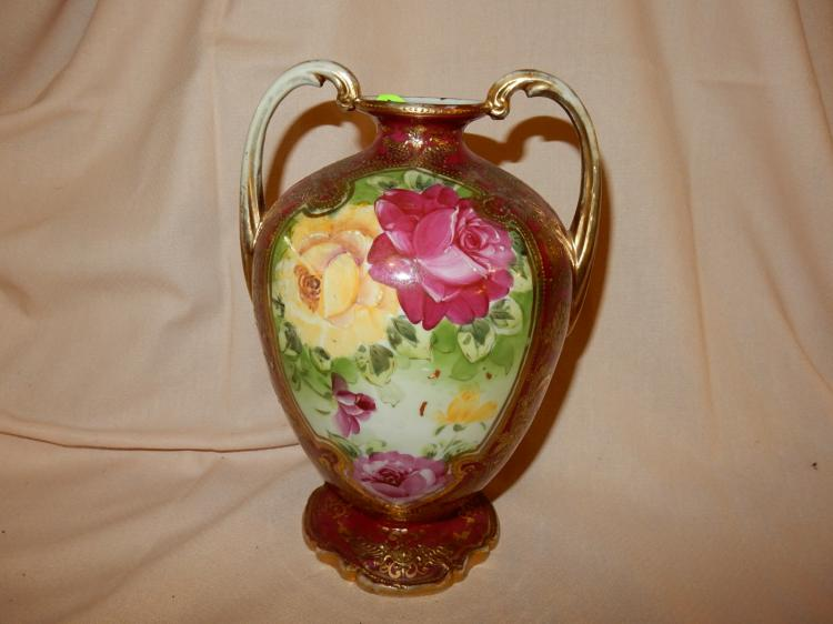 Beautiful antique hand painted porcelain floral vase, double handled, footed, marked Nippon, cond VG
