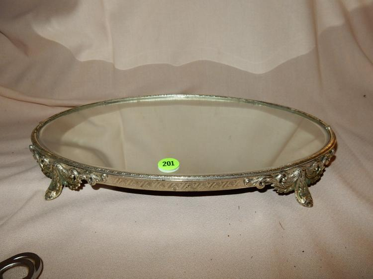 Vintage footed mirror plateau, cond VG