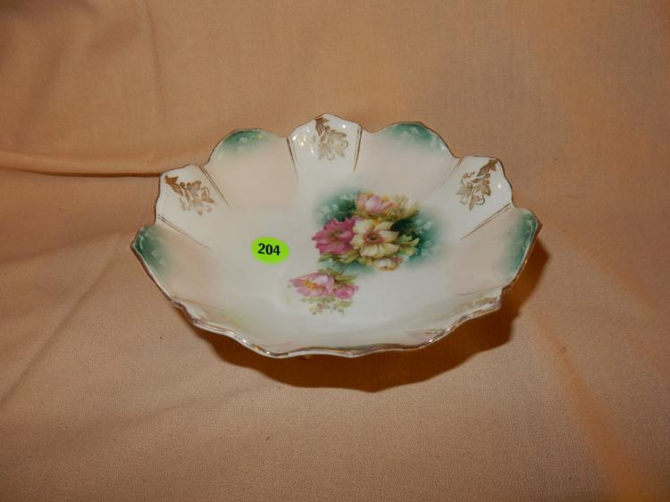 Vintage RS Prissua tri footed porcelain dish, floral design, cond VG