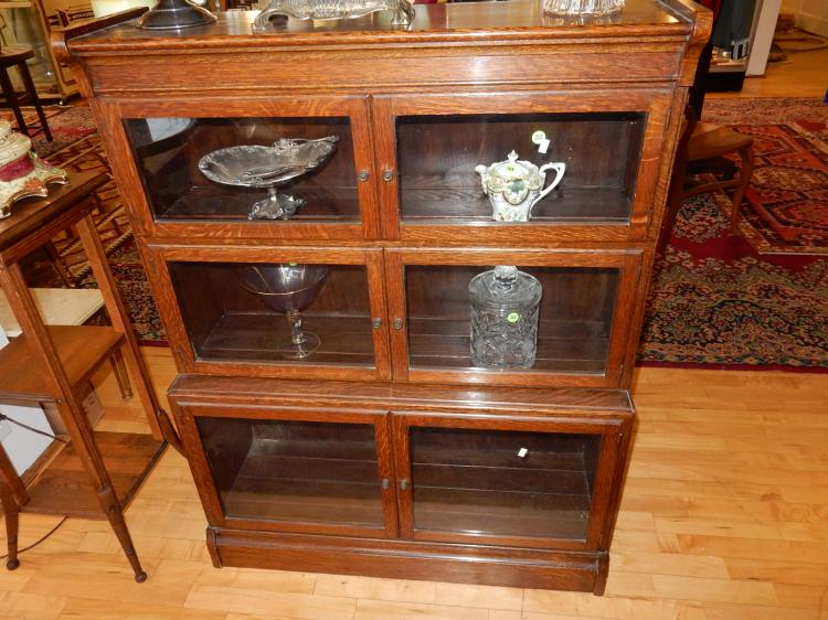 Wonderful antique oak Arts & Crafts style lawyer's stacking bookcase with swing out doors, labeled, special shipping req