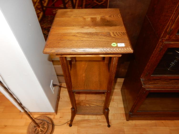 26) Nice antique American oak Arts and Crafts era fern stand, professionally refinished, special shipping req