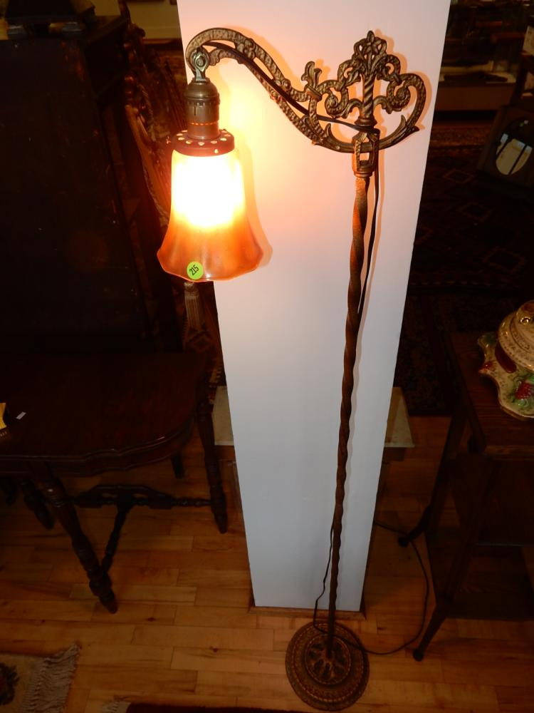 Vintage floor model bridge lamp with carnival glass shade, special shipping req