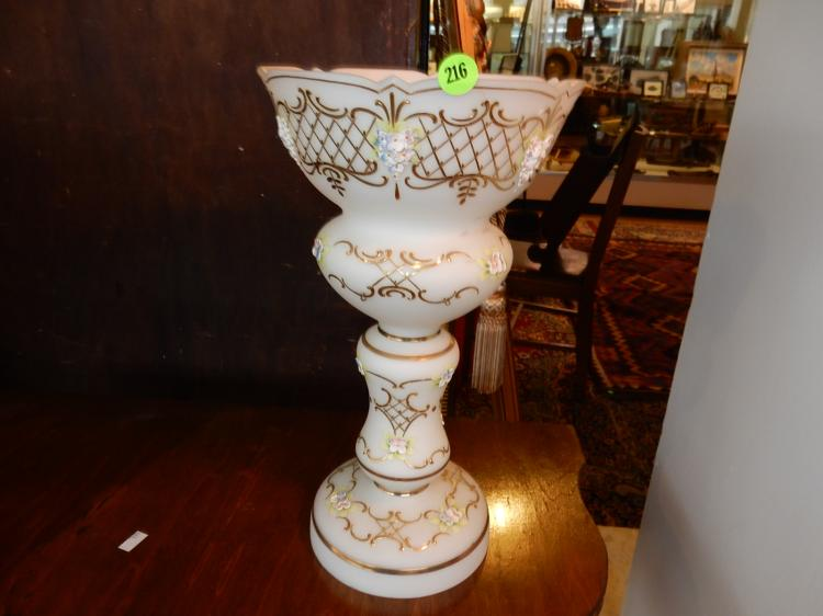 Vintage case glass mantle luster, hand painted, cond VG only needs prisms
