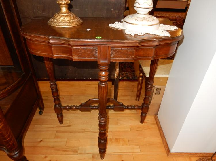 Vintage walnut half moon lamp table, special shipping req