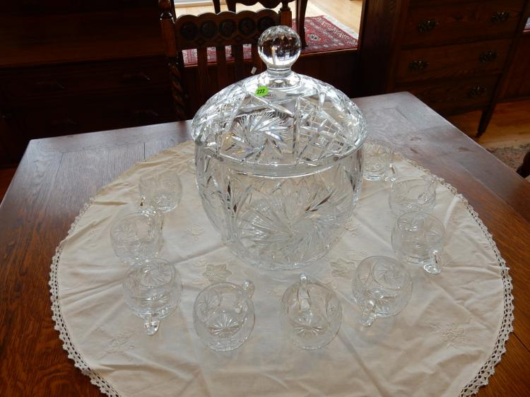 Fabulous vintage cut crystal pinwheel punch bowl set with lidded bowl, and cups, cond VG