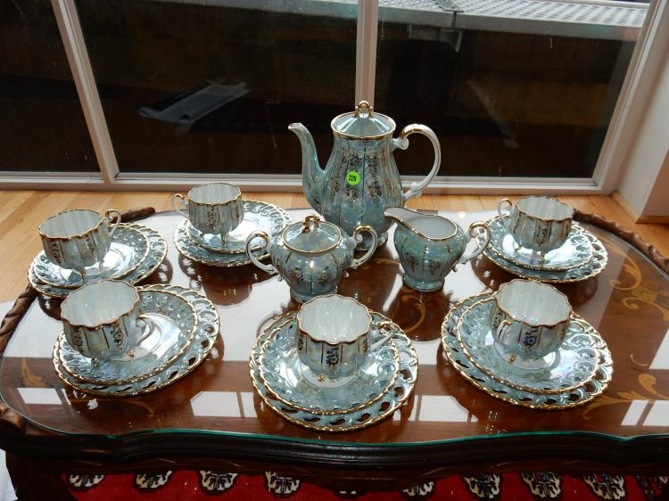 Vintage porcelain lusterware tea set, cond VG