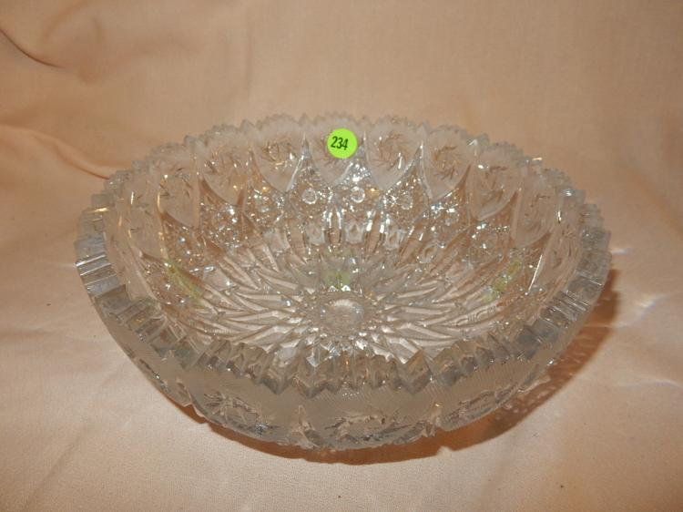 Heavy cut crystal bowl, cond VG