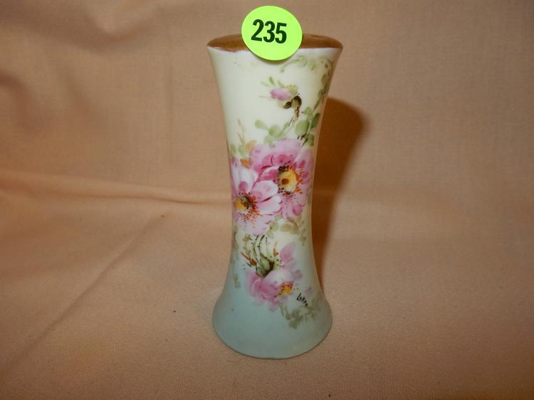 Vintage porcelain hat pin holder, floral design, cond VG