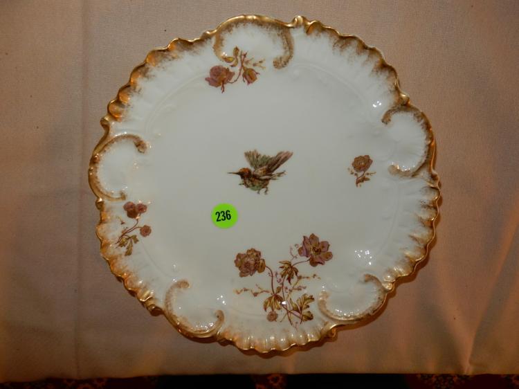 Vintage porcelain plate bird design, cond VG