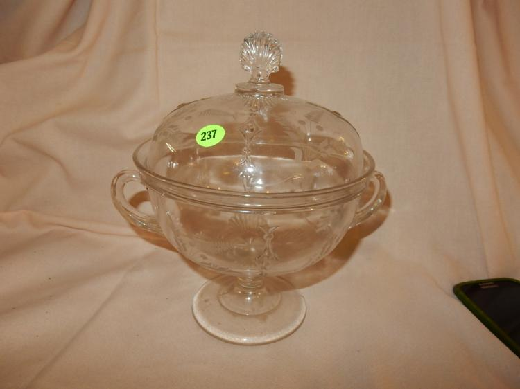 Vintage preesed glass lidded compote, cond VG