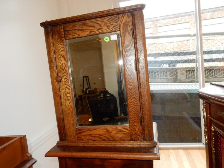 17) Antique American oak corner medicine cabinet, refinished, special shipping req