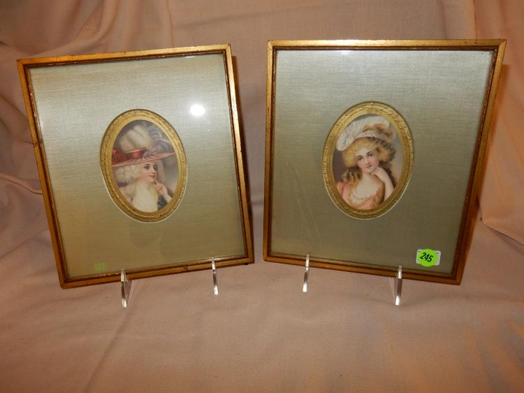 2 piece painted miniature style portraits, framed, ladies wearing hats