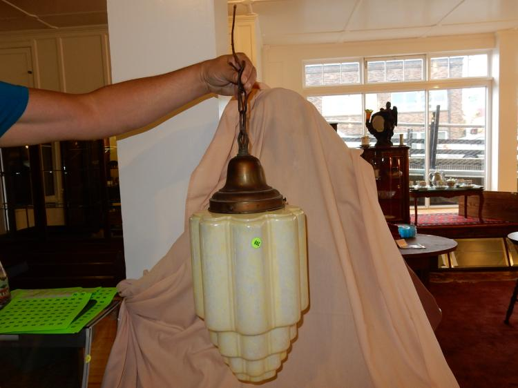 Antique skyscraper style hanging light, with holder, lusterware glass shade, cond VG