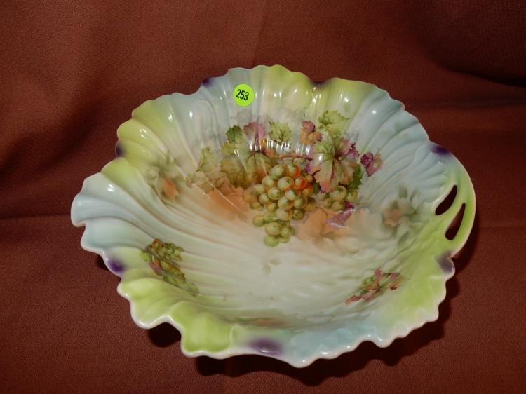 Lovely painted porcelain bowl, floral & grape design, COND VG, signed SILESIA