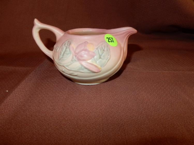 Vintage Hull pottery cream pitcher, floral design. COND VG