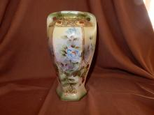 Lovely hand painted Nippon vase, floral design, COND VG, minor paint loss on rim