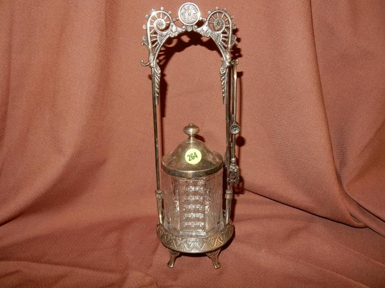 Antique, Victorian silver plated fancy pickle castor with tongs, COND VG