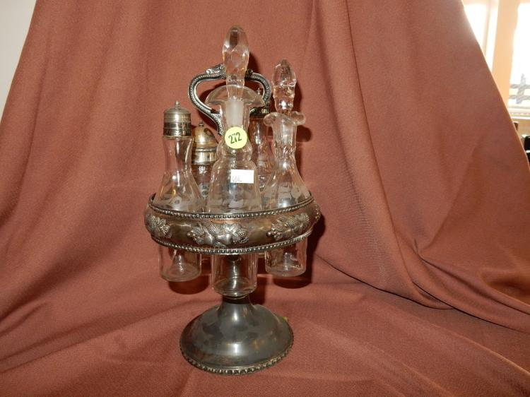 Antique silver plated cruet set with etched bottles, COND VG